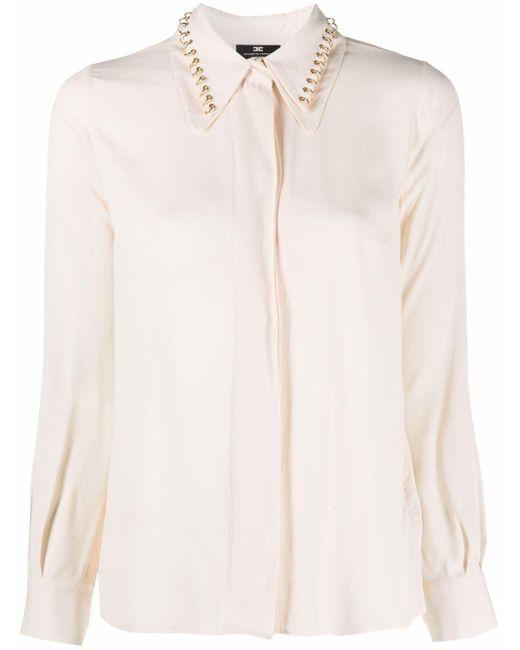 Elisabetta Franchi Multicolor Ring-embellished Crepe Shirt
