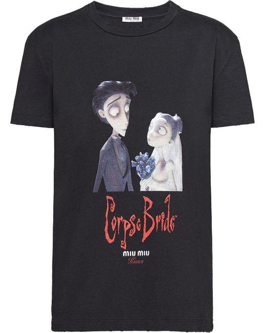 Miu Miu X Disney 'corpse Bride' Tシャツ Black