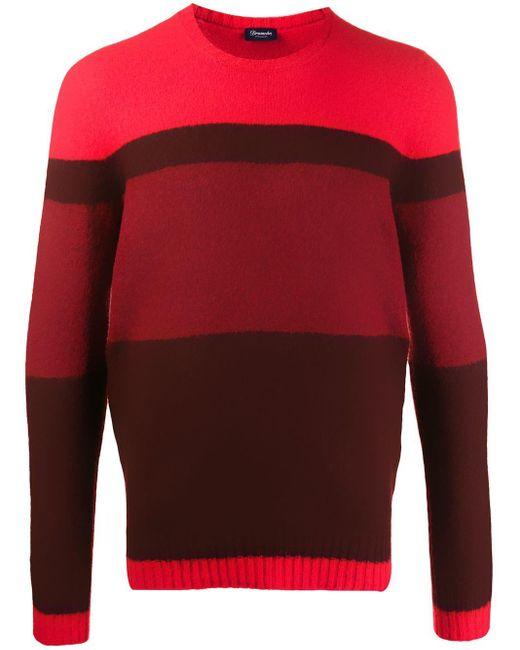 メンズ Drumohr ストライプ セーター Red