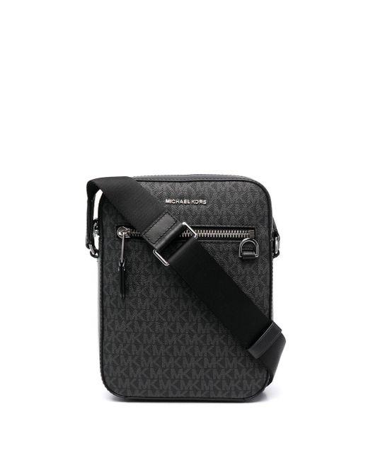 Michael Kors Black Logo-monogram Leather Messager Bag for men