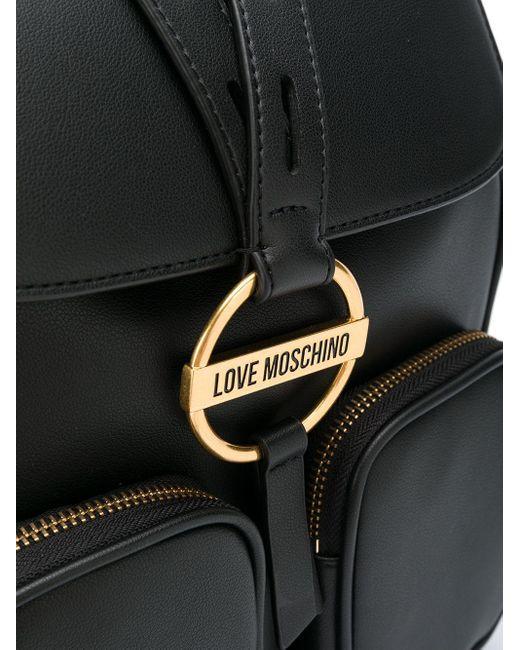 Love Moschino ロゴプレート バックパック Black