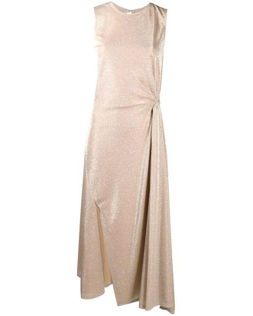 Lanvin ノースリーブ ドレープドレス Natural