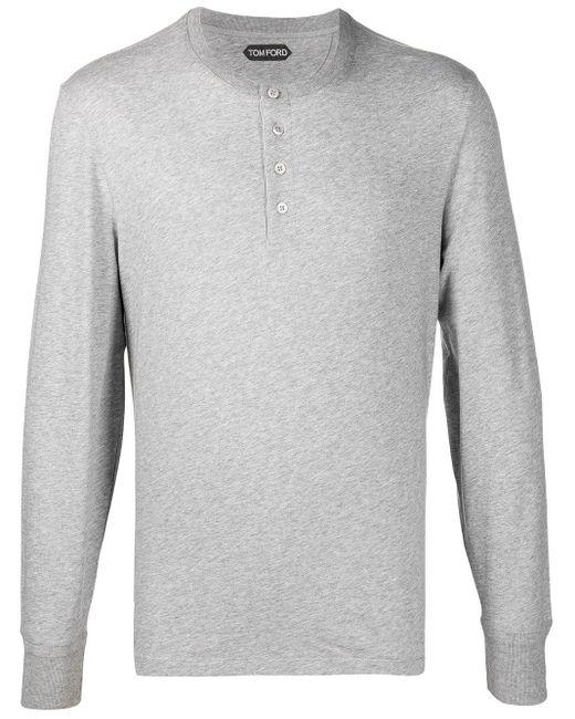 T-shirt a maniche lunghe di Tom Ford in Gray da Uomo