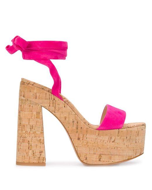 Gianvito Rossi Sandalias con suela de plataforma de mujer de color rosa