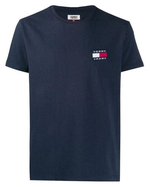 メンズ Tommy Hilfiger エンブロイダリーロゴ Tシャツ Blue