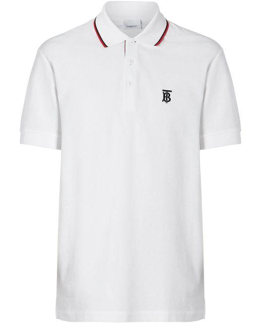 メンズ Burberry アイコンストライプ ポロシャツ White