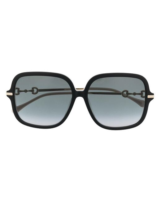 Gucci Black Horsebit Square Frame Sunglasses