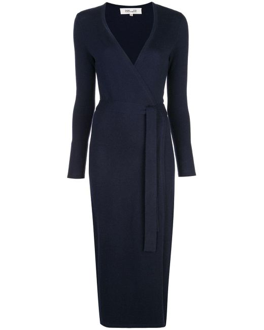 Diane von Furstenberg Blue Fine Knit Wrap Dress