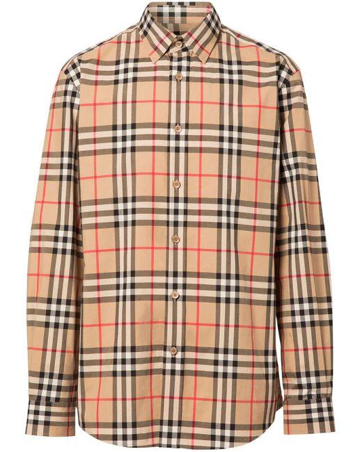 Burberry Natural Vintage Check Cotton Flannel Shirt for men