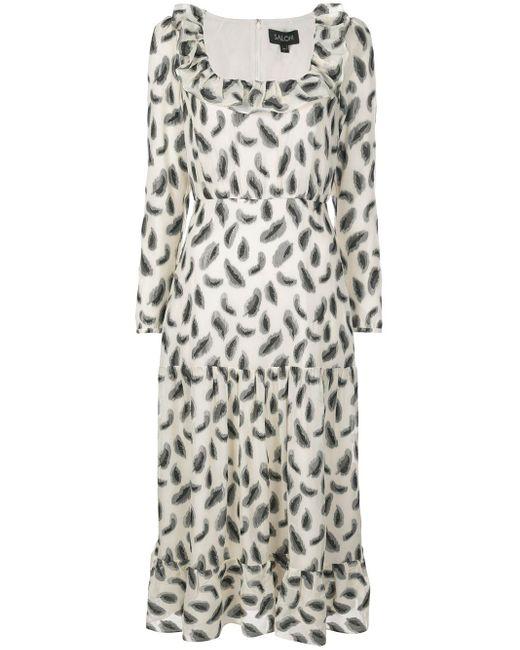 Robe longue à imprimé abstrait Saloni en coloris White
