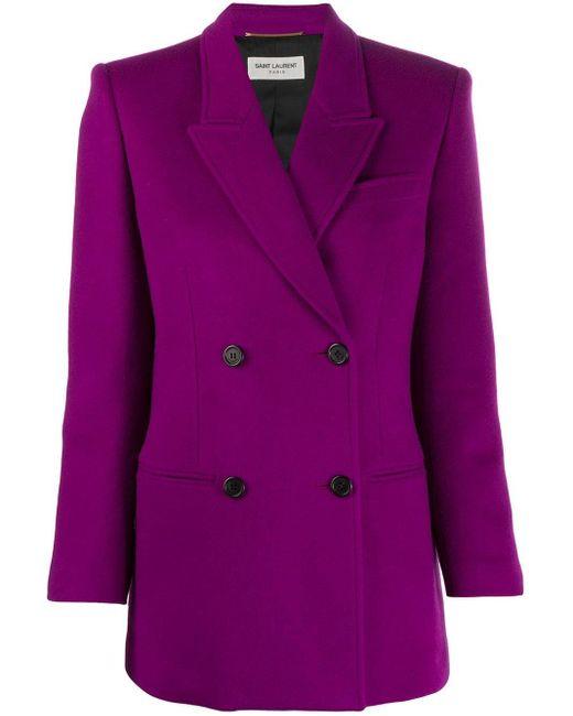 Blazer con doble botonadura Saint Laurent de color Purple