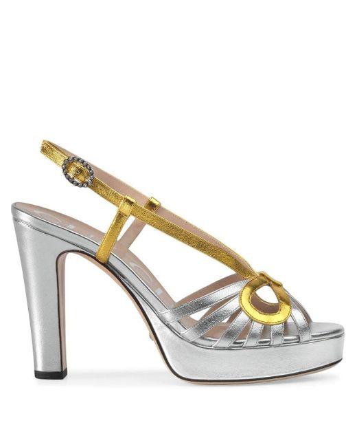 Sandales métallisées Gucci en coloris Metallic
