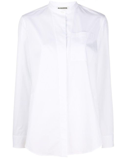 Jil Sander バンドカラー シャツ White