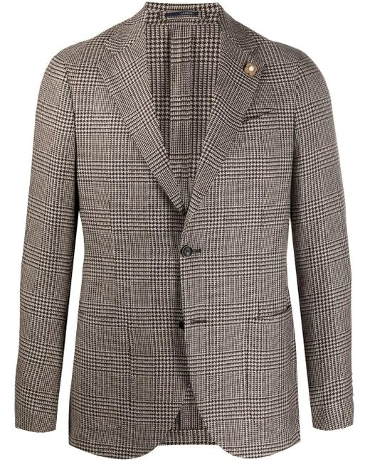 Пиджак В Клетку Prince Of Wales Lardini для него, цвет: Brown