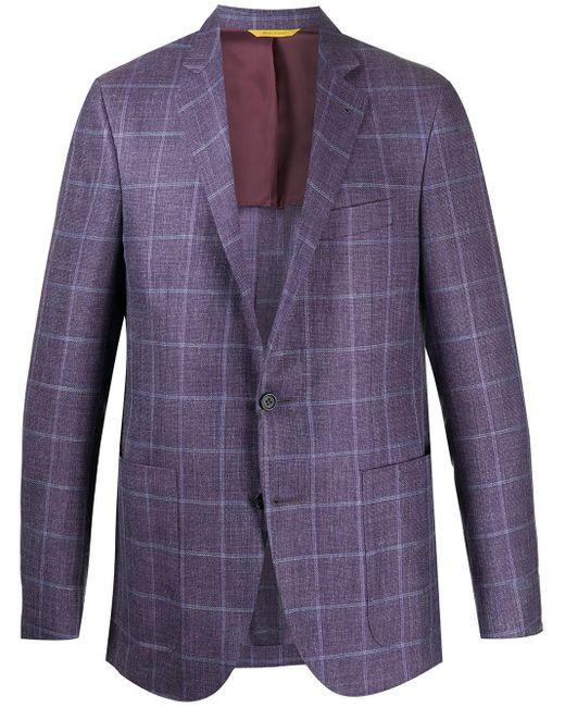 メンズ Canali チェック ジャケット Purple
