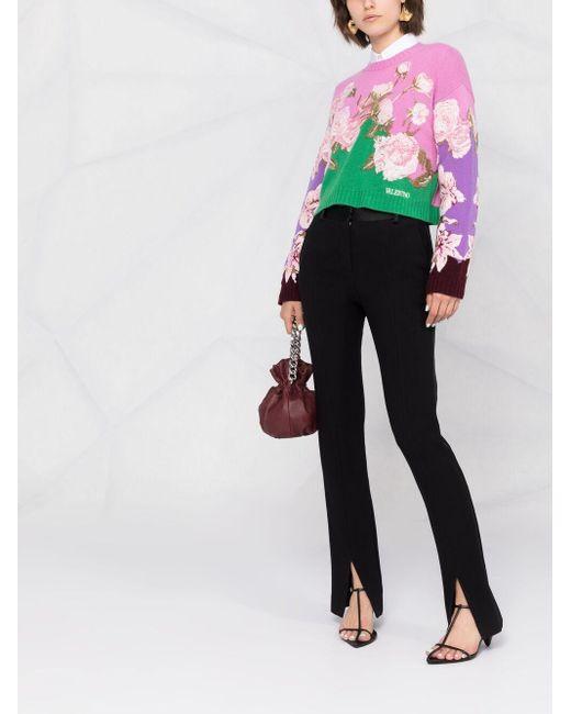 Укороченный Джемпер С Цветочной Вышивкой Valentino, цвет: Pink