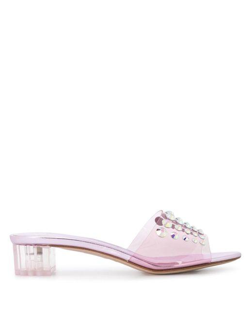 Le Silla Purple Crystal-embellished 40mm Open Toe Pumps