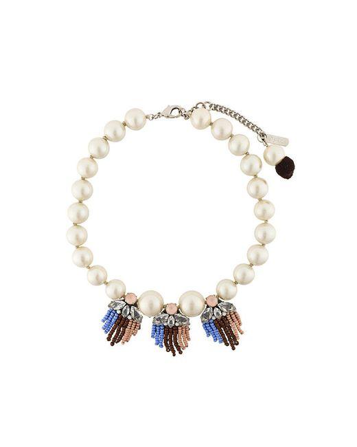 Rada'   White Fringed Detail Short Necklace   Lyst