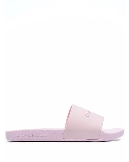 Шлепанцы С Тисненым Логотипом Calvin Klein, цвет: Pink