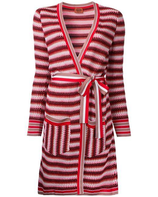 Missoni | Red Zig-zag Belted Cardi-coat | Lyst