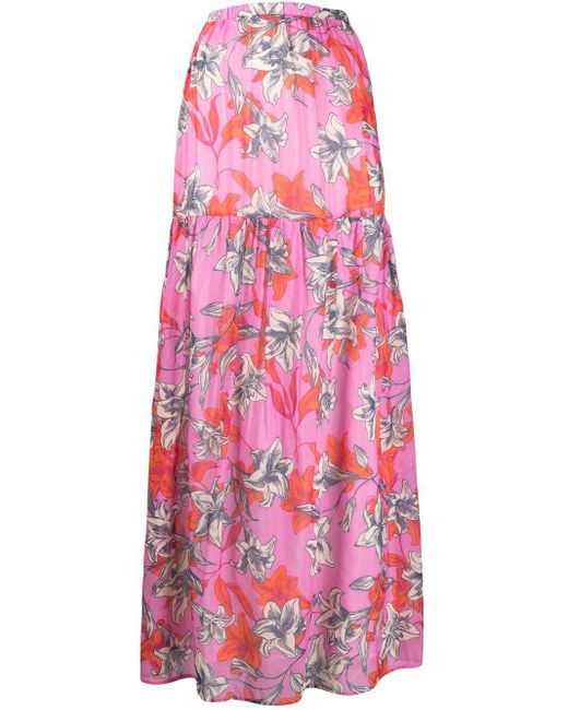 Black Coral フローラル マキシスカート Pink