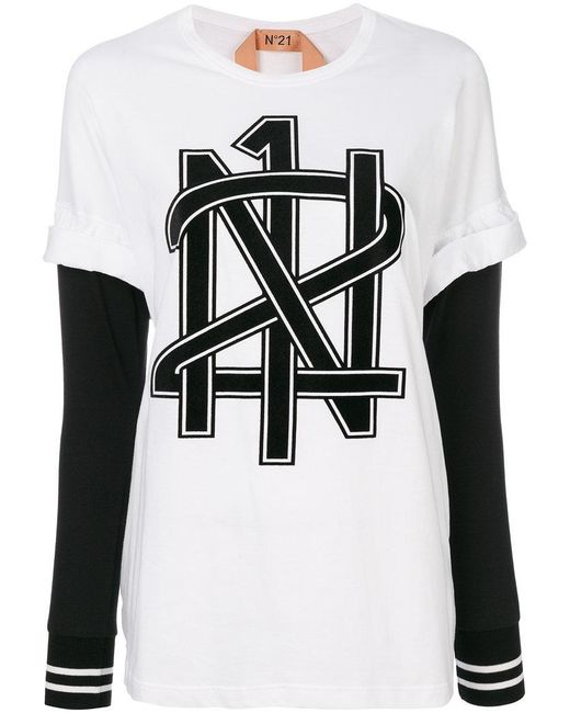 N 21 graphic printed t shirt in white lyst for Graphic t shirt printing company