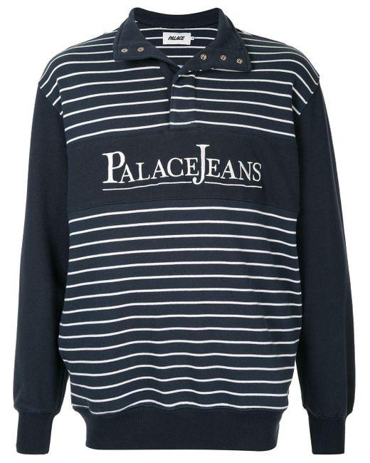 メンズ Palace ロゴ ニット ポロシャツ Blue