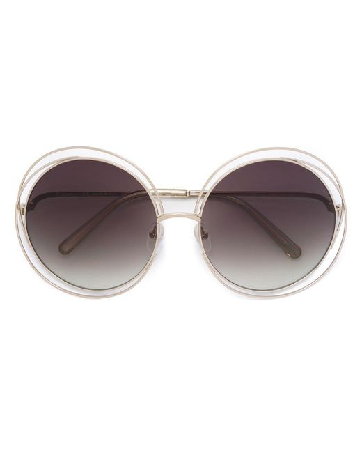 Chloé White - 'carlina' Sunglasses - Women - Metal (other) - One Size