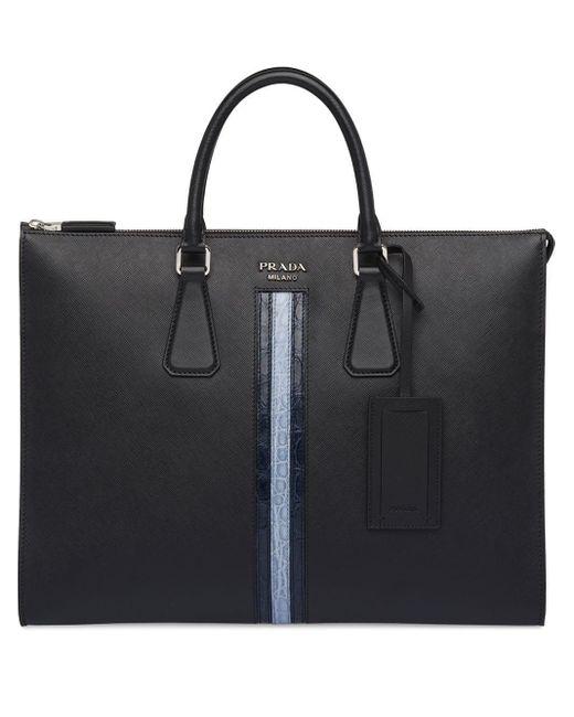 メンズ Prada ロゴ ビジネスバッグ Black