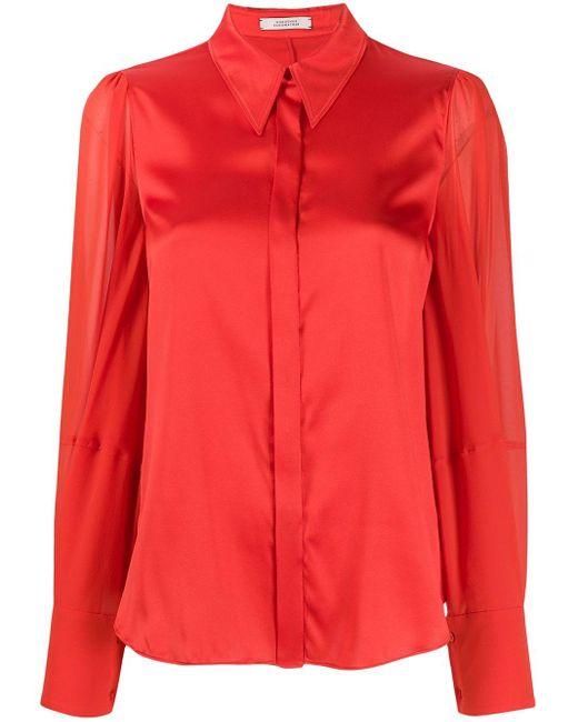 Dorothee Schumacher Camisa con cuello de pico de mujer de color rojo