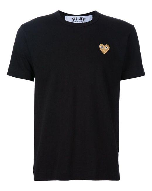 メンズ COMME DES GARÇONS PLAY ハートロゴ Tシャツ Black