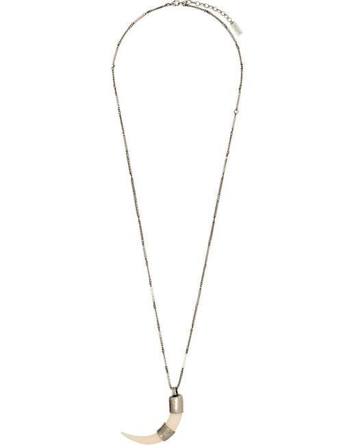 Collier à détail de pendentif Tooth Saint Laurent pour homme en coloris Metallic
