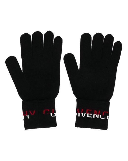 メンズ Givenchy ロゴ インターシャ グローブ Black