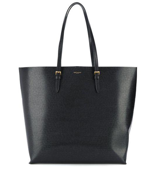 Фактурная Сумка-тоут С Логотипом Saint Laurent, цвет: Black