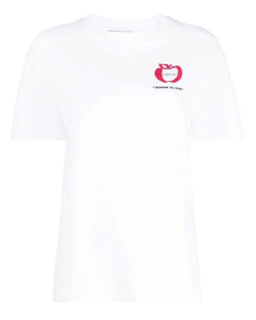 Off-White c/o Virgil Abloh White Adam Is Eve Apple-print T-shirt