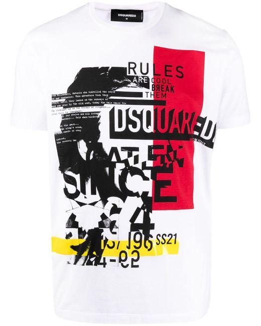 DSquared² White Graphic-print T-shirt for men