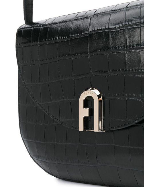 Furla Sleek クロコパターン ショルダーバッグ Black