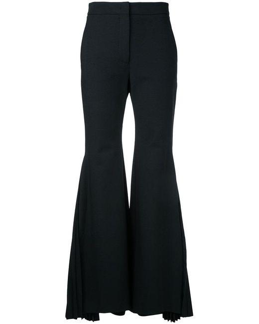 Sara Battaglia - Black Pleated Flared Trousers - Lyst