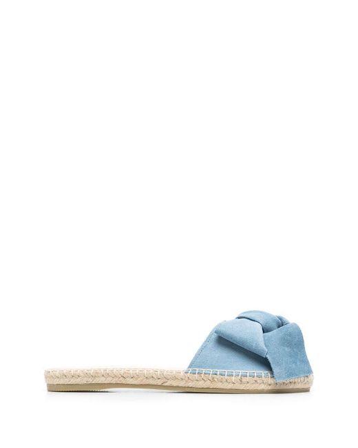 Manebí Blue Bow-detail Flat Sandals