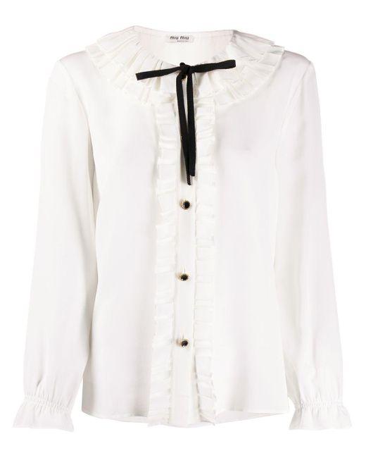 Miu Miu シルク ラッフルシャツ White