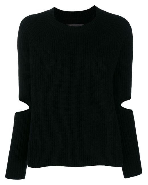 Zoe Jordan Black Cut-out Sleeve Knit Sweater