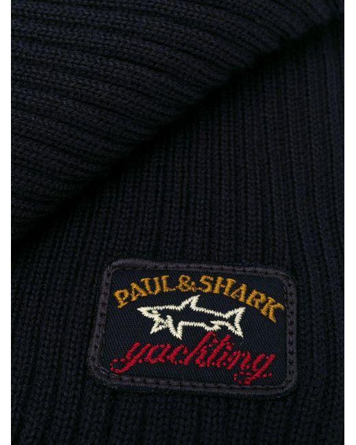 メンズ Paul & Shark ロゴパッチ スカーフ Blue