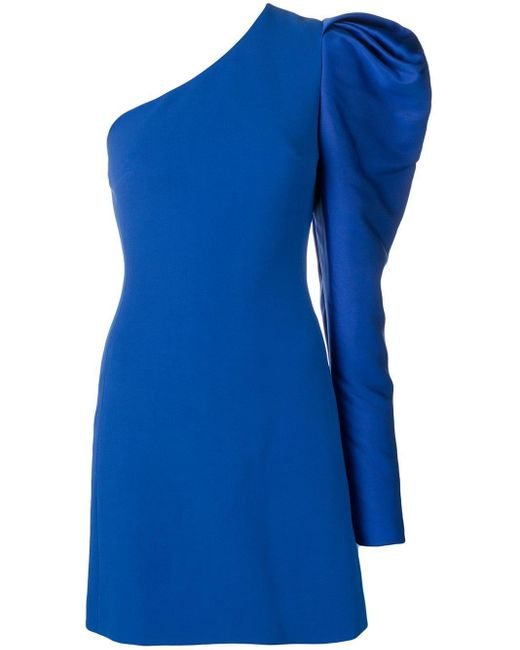 David Koma - Blue One Shoulder Gigot Dress - Lyst