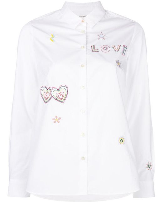 Chinti & Parker - White Love Embroidered Shirt - Lyst
