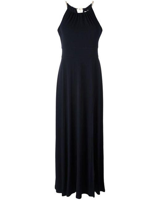 MICHAEL Michael Kors | Blue Metallis Choker Neck Gown | Lyst