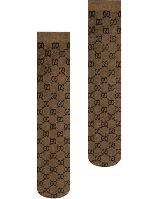 Gucci Brown Kniestrümpfe mit GG-Muster
