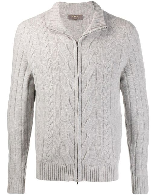 メンズ N.Peal Cashmere チャンキーニット セーター Gray