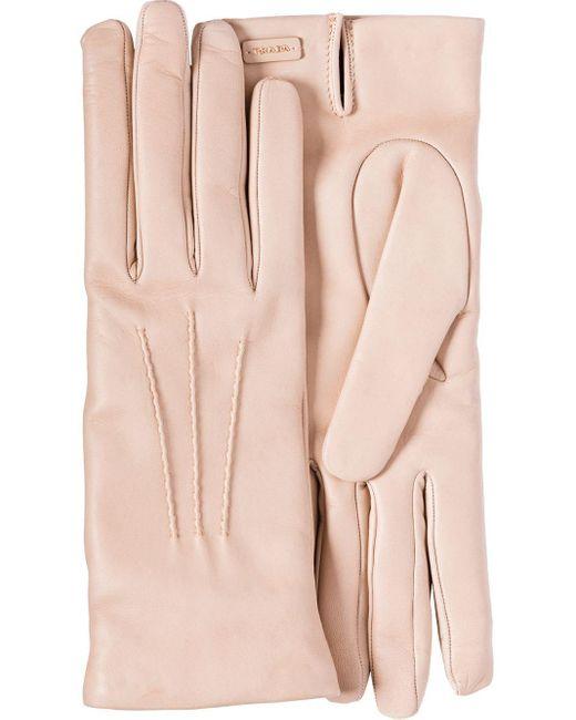 Prada Pink Leather Gloves
