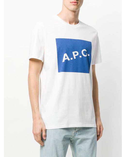 Lyst a p c logo t shirt in white for men for Apc white t shirt