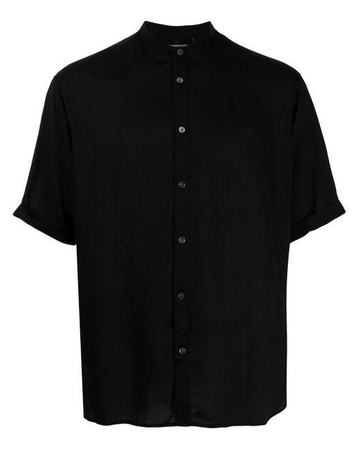 Рубашка Без Воротника С Короткими Рукавами Emporio Armani для него, цвет: Black